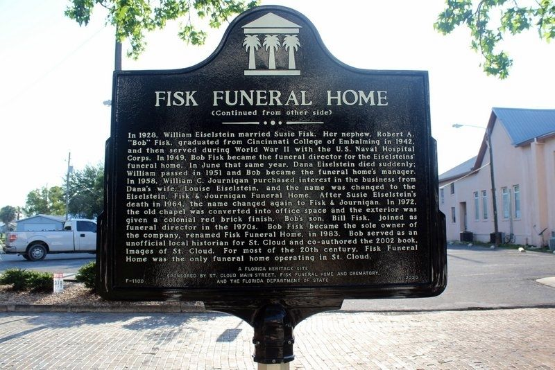 Fisk Funeral Home Marker Side 2 image. Click for full size.