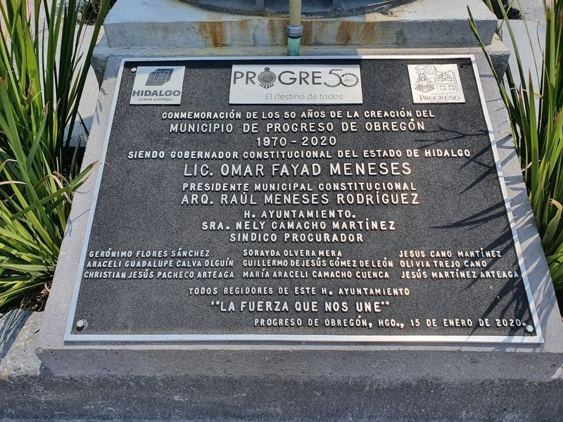 Creation of the Municipality of Progreso de Obregón Marker image. Click for full size.