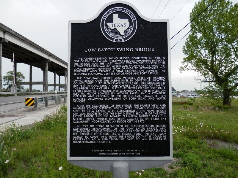 Cow Bayou Swing Bridge Marker image. Click for full size.