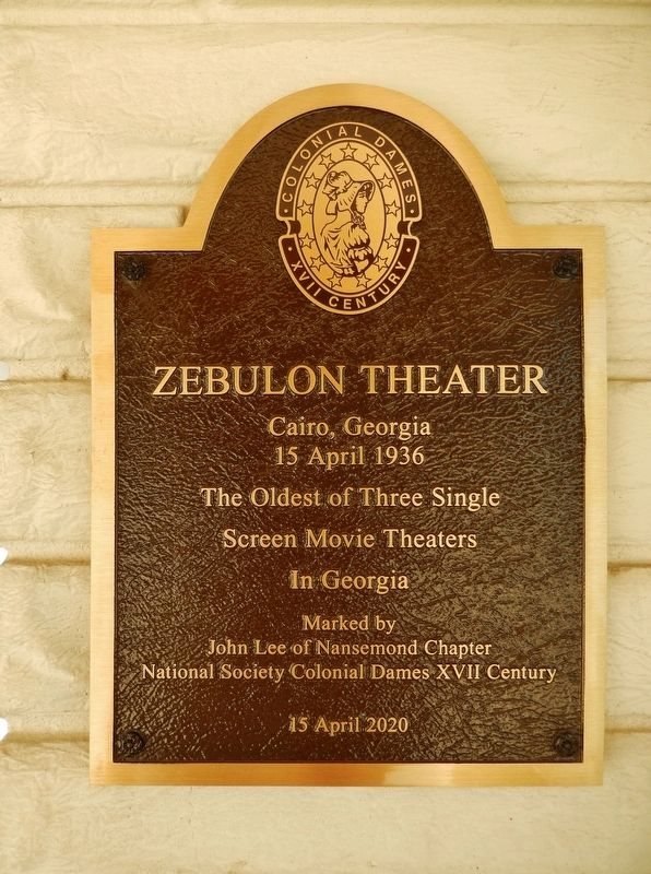 Zebulon Theater Marker image. Click for full size.